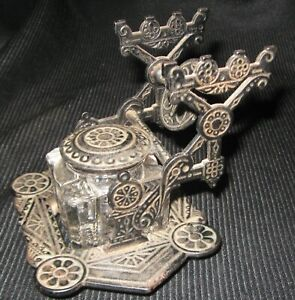 VICTORIAN ERA GLASS  INKWELL & IRON HOLDER