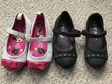 Girls Size 7 Shoe Bundle Black Pink Velcro Shoes Minnie Mouse Summer