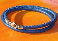 Mens / Ladies 4mm Blue nappa leather & sterling silver bracelet by Lyme Bay Art
