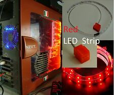 Red LED strip 15 inches long Self-adhesive for PC Computer case Extra long wire