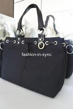 OROTON Signature O Shopper Tote Black Gold Tone w/ Keyring and Dustbag RRP$395