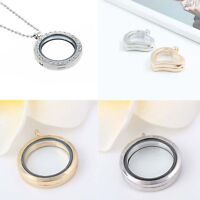 DIY Living Memory Floating Charm Crystal Glass Round Locket Pendant Necklace Hot
