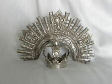 Mid-19th Cent. Spanish Colonial Silver Santos Crown Couronne  Vierge w/Halo Set