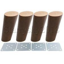 4pcs Wooden Furniture Legs Feet w/Iron Plate for Table Sofa Bed Cabinet