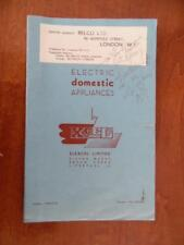 1946 ELEXCEL British Electric Appliance Iron Cookers Catalog Liverpool Vintage