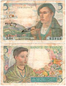France 5 Francs P#98a (1943) Banque de France VF