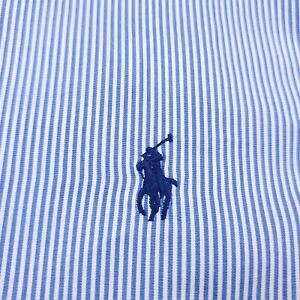 Ralph Lauren Long Sleeve Button Down Shirt Mens XS Stretch Blue & White Striped