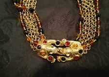 Rare Graziano Book Piece Statement Necklace Rhinestone leopards multi strand