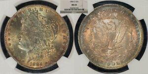 1884-O $1 Morgan Silver Dollar - PQ Neon Rainbow Toning- NGC & CAC MS 65 - B1107