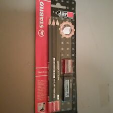 Stabilo 3 Black Pencils with Eraser and Red or Black Sharpener