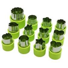 12Pcs Stainless Steel Fruit Vegetable Mini Cookie Shape Cutter Kid Food Mold Kit