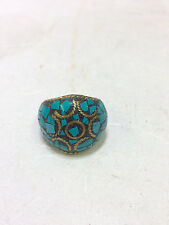Tibetan Inlaid Turquoise Brass Dome Ring Size 9.5