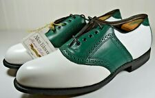 """Allen Edmonds """"Redan"""" Golf Oxford Green and White Shoes Size 11.5 D Made in USA"""