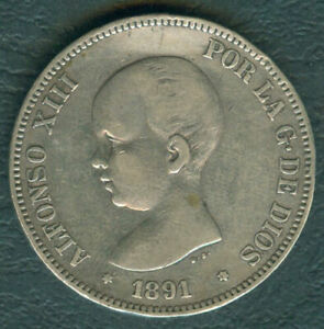 1891 Spain ALFONSO XIII 5 pesetas Crown Size Silver Coin #A3