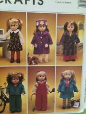 """McCalls Sewing Pattern 2506 18"""" Doll Clothes Dog Jumper Overalls Coat Hat Uncut"""