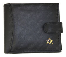 Quality MASONIC Genuine Black Leather Wallet Credit Card Holder Coin Pouch