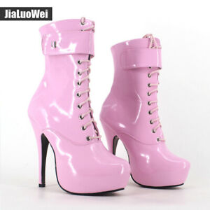 Cosplay Womens 15 CM High Heel Ankle Boots Platform Shiny Leather Lace Up Boots