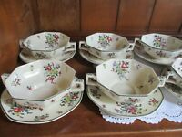 Set of 11 Royal Doulton Leeds Sprays Bullion/Cream Soup bowls w/ saucers