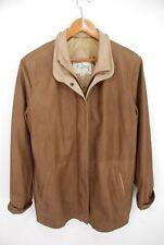 Remy Double Collar Full Zip Leather Lambskin Jacket Brown Beige Men's Small