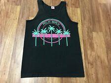 New listing Medium - Vtg 90s Palm Beach Neon Palms Single Stitch Cotton Tank T-Shirt Usa