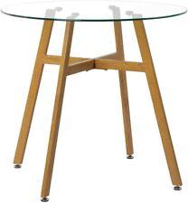 Mesa de Comedor de Cristal Templado,Mesa Redonda de Cocina o Café Moderna Nórdic