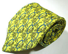 Hermes Paris 7504 IA Lion Pattern Yellow Color Silk Necktie Tie Made In France