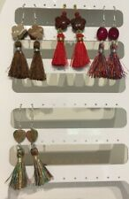 Red, Brown or Multicolour Tassel & Stone Bead Dangle Earrings on Plated Wires.