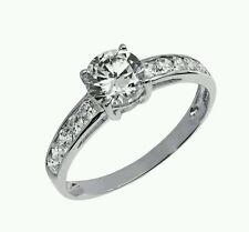 9ct white gold created diamond shoulder set ring Engagement anniversary birthday