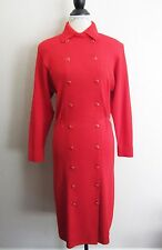 St John for Neiman Marcus~Vintage Red Double Breasted Long Sleeve Dress~8