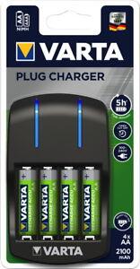 Varta Akku Ladegerät Charger Plug 4x AA 2100mAh für 4 AA / AAA 57647