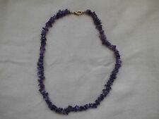Modeschmuck Halskette Amethyst Echtstein Perlen Handarbeit 42 cm Karabiner