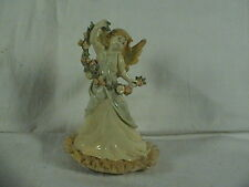 Vintage Angel Holding Garland Music Box, Spagetti Laced Gown, Hark The Herold