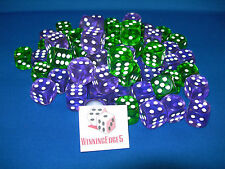 NEW 12 PURPLE AND GREEN ACRYLIC DICE 16MM  2 COLORS 6 OF EACH COLOR