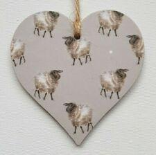 Handmade Wooden Hanging Heart Door Hanger Beautiful Wrendale Sheep Print