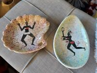 RARE Mid Century Modern African Dancers on Ceramic Trays Lot Of 2