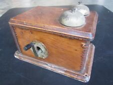 Swedish American Coffin Telephone Ringer Box w/ Working Bells Antique Magneto
