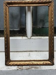 """ANTIQUE  PRESSED BRASS FRONT WOOD PHOTO PICTURE FRAME 6 3/4"""" W X 8 3/4"""" D"""