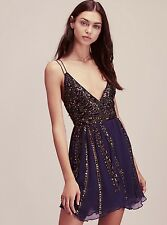 STUNNING! New $350.00 FREE PEOPLE Cassiopeia Beaded Navy Blue Strappy Mini Dress