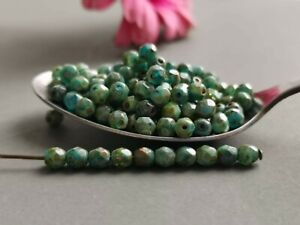 Czech fire polished small glass beads picasso green 4 mm pack of 100