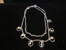 Avon Silver Tone Double Chain Rhinestone Ankle Bracelet