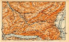 Carta geografica antica SVIZZERA Walensee Glarus Old Map Switzerland Suisse 1905