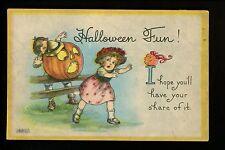 Halloween Postcard Bergman 1690/1-6 JOL pumpkin scaring child Vintage