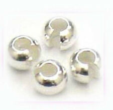 50x solid 4mm 925 Sterling Silver round CRIMP BEAD COVER gap filler Findings F38