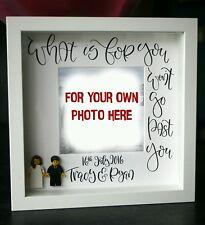 Personalizado Novia y el novio boda regalo de aniversario Marco Blanco Lego