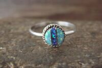 Zuni Indian Sterling Silver Opal Inlay Ring -  Size 7