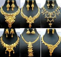 Indian 22K Gold Plated Wedding Necklace Earrings Jewelry Variations tikka 9''set