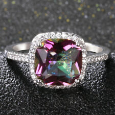 925 Silver 10 * 10 MM Mystic Topaz Gem Wedding Engagement Ring Jewelry Wholesale
