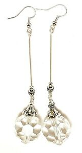 VERY LONG SILVER CLEAR CRYSTAL EARRINGS boho chic unique vintage gypsy retro