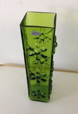 VINTAGE 1970 BLENKO HANDCRAFT OLIVE GREEN VASE WITH FLOWERS ON EACH SQUARE SIDE