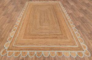 Scalloped Rug 100% Natural Jute Handmade Braided Floor Mat Rustic Look Area Rug